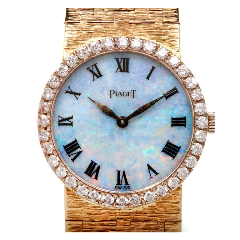 Piaget Diamond Opal Dial Gold Ladies Watch At 1stdibs
