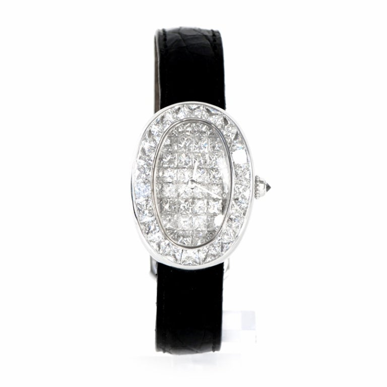 Cartier Lady S White Gold And Diamond Baignoire Wristwatch