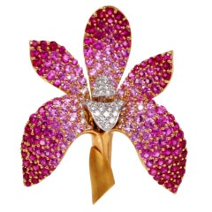 Mark Patterson Orchid 11.00ct Diamond Pink Sapphire Gold Pin