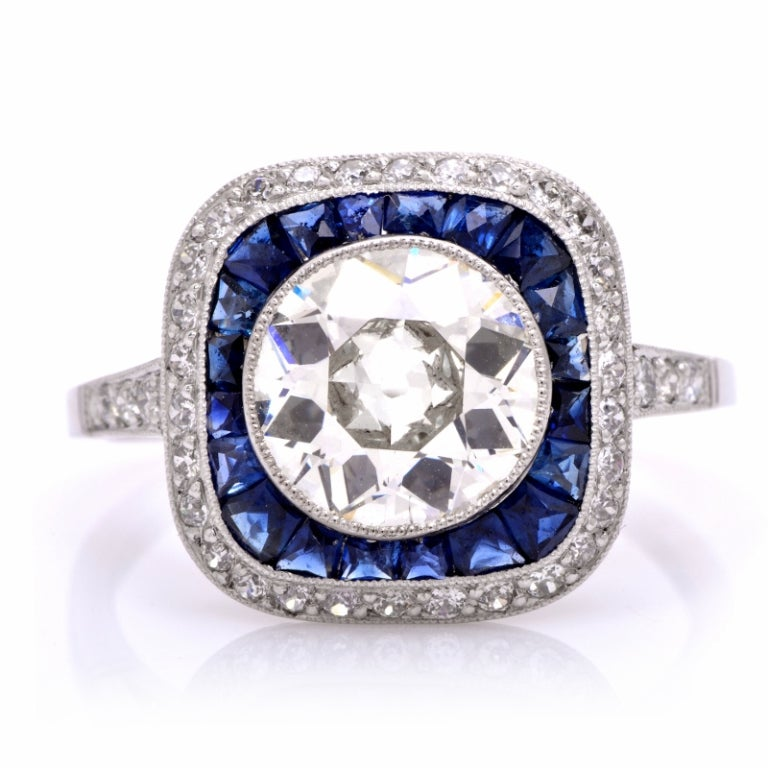 3 42cts sapphire platinum engagement ring at 1stdibs