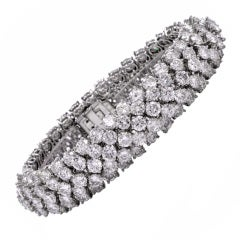 1960s Diamond Platinum Wide Bracelet