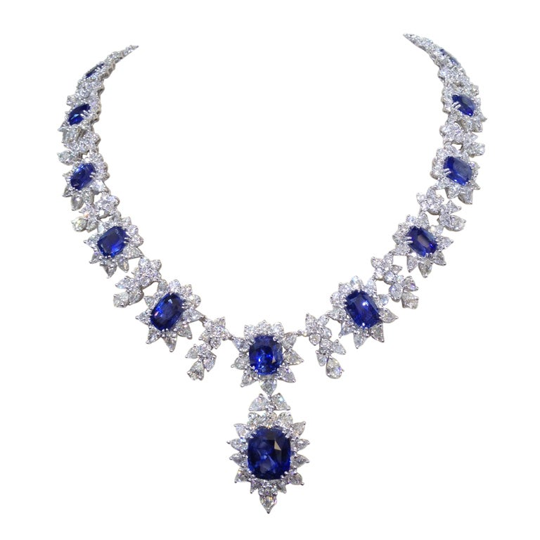 Diamond And Sapphire Necklace Set In Platinum At 1stdibs