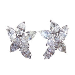 Classic Pear Shape and Marquis Diamond Cluster Earrings