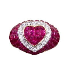 Invisible set Ruby and Diamond Heart Bombe Style Ring