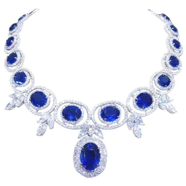 Stunning Sapphire and Diamond Necklace For Sale