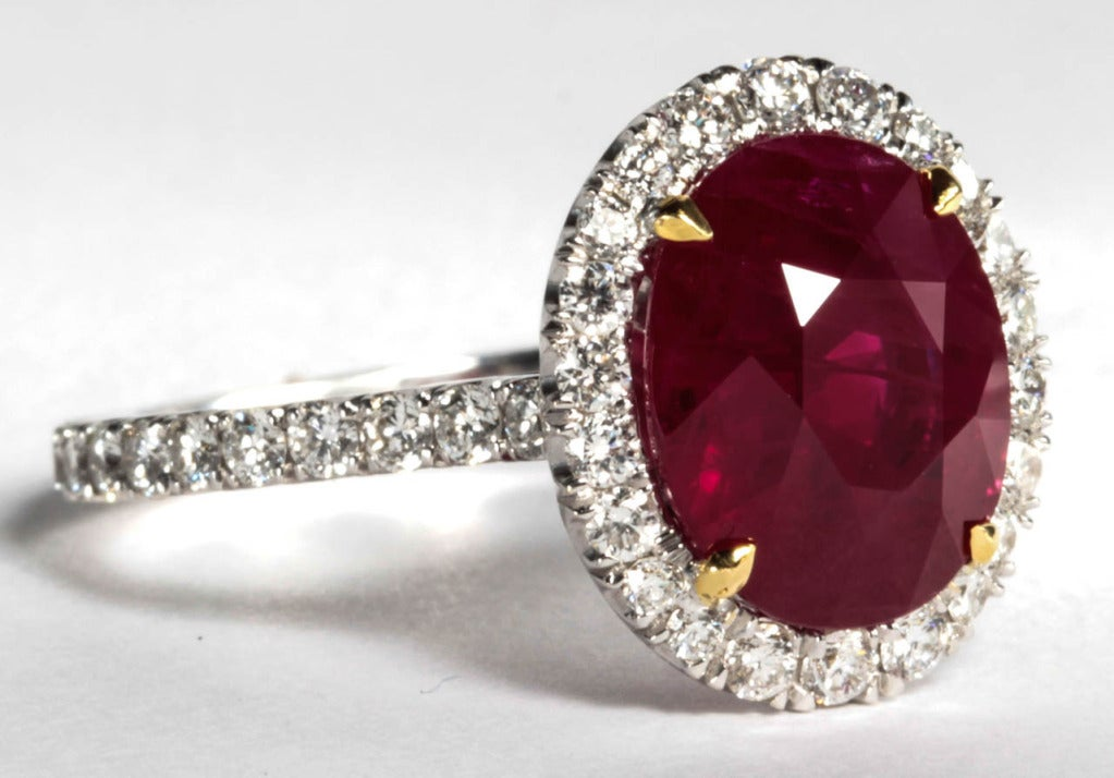 GIA Certified Five Carat Vivid Red Pigeon's Blood Burma Ruby and Diamond Ring 5