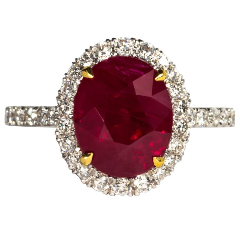 GIA Certified Five Carat Vivid Red Pigeon's Blood Burma Ruby and Diamond Ring