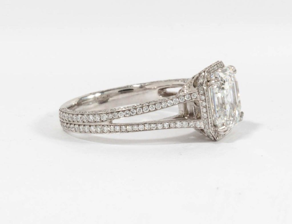 GIA 3.03 Carat H Vs1 Asscher Cut Diamond and Platinum Engagement Ring In New Condition For Sale In New York, NY
