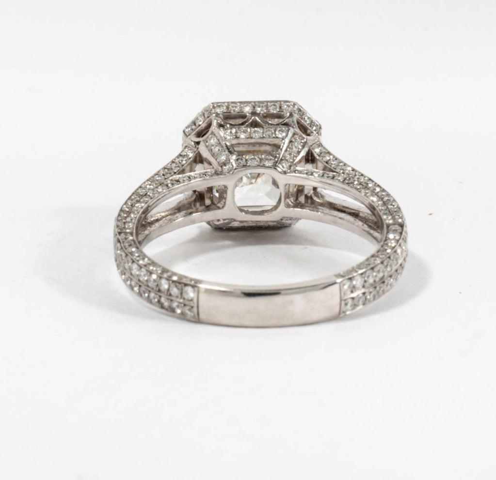 GIA 3.03 Carat H Vs1 Asscher Cut Diamond and Platinum Engagement Ring For Sale 2