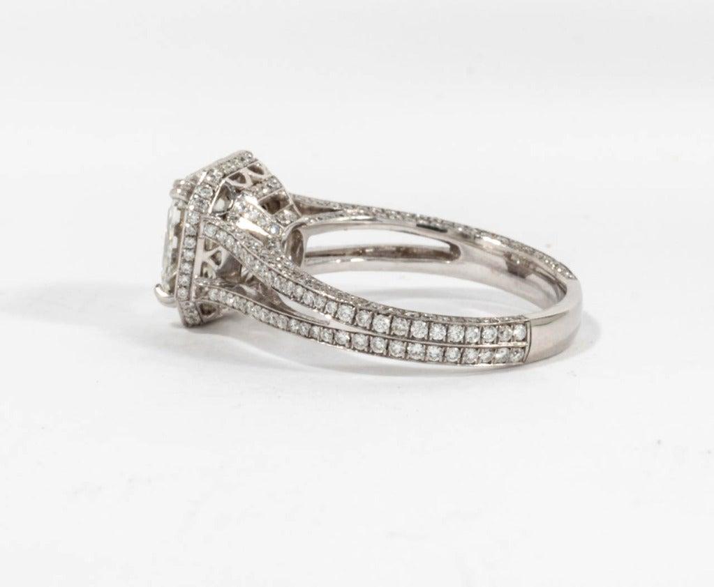GIA 3.03 Carat H Vs1 Asscher Cut Diamond and Platinum Engagement Ring For Sale 3