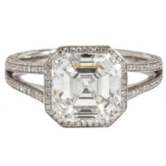 GIA 3.03 Carat H Vs1 Asscher Cut Diamond and Platinum Engagement Ring
