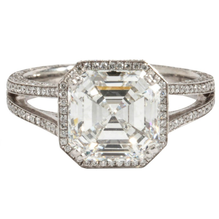 GIA 3.03 Carat H Vs1 Asscher Cut Diamond and Platinum Engagement Ring