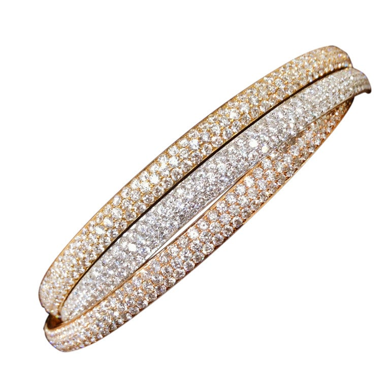 Set of Rose Yellow and White Gold Diamond Bangles
