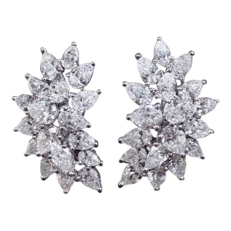 Classic Diamond Cluster Earrings with Pear Shaped Diamonds