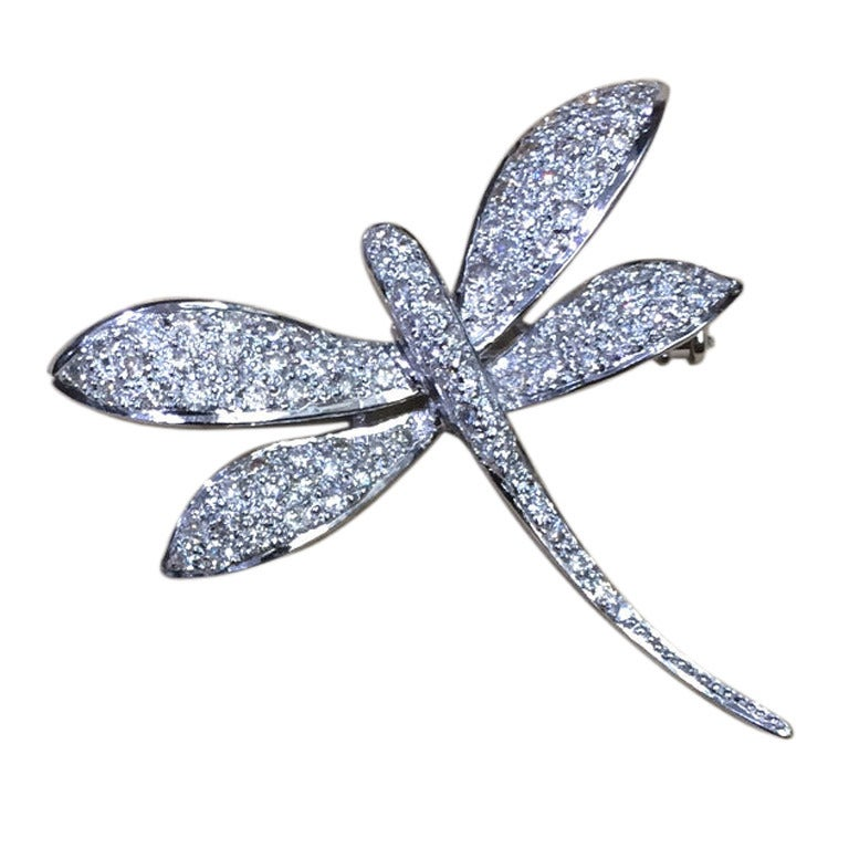 Diamond Dragonfly Brooch Pin