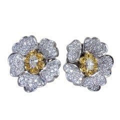 Yellow and White Diamond Flower Petal  Earrings