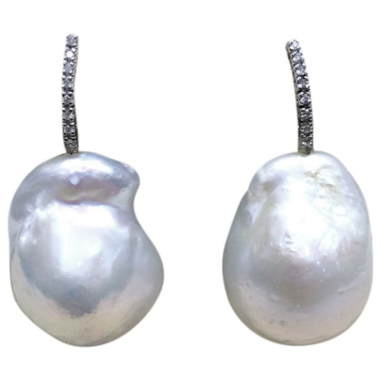 Italian Baroque Pearl Diamond Dangle Earrings For Sale