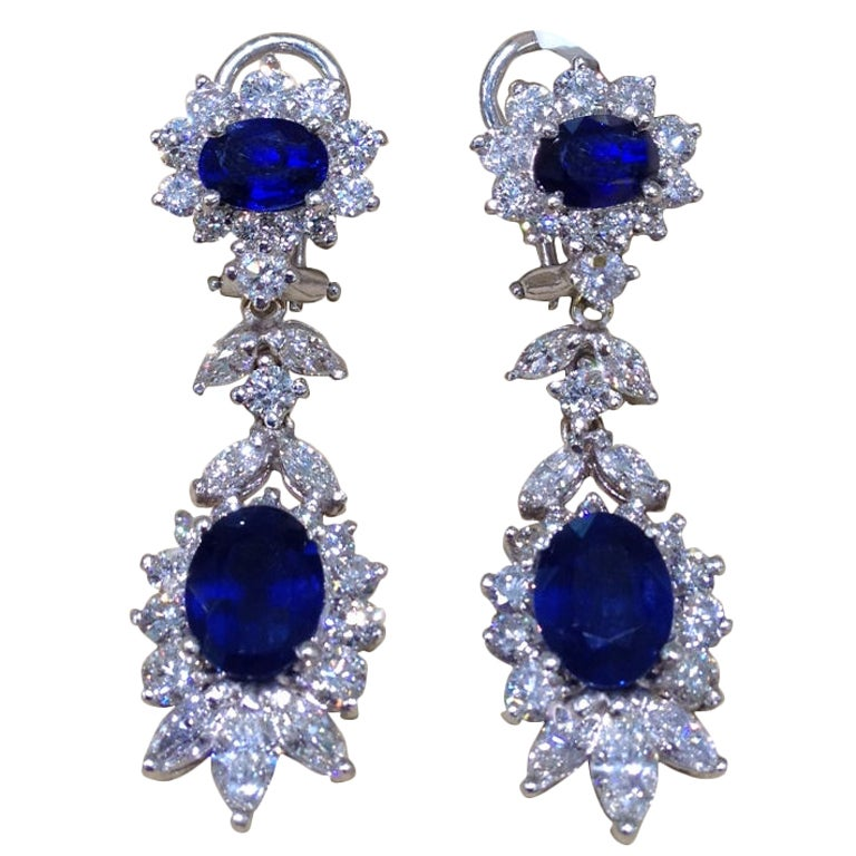 Classic Sapphire and Diamond Earrings For Sale