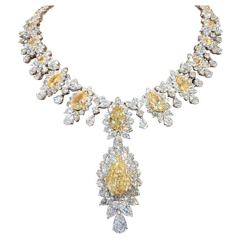 Incredible Yellow and White Diamond Necklace 1