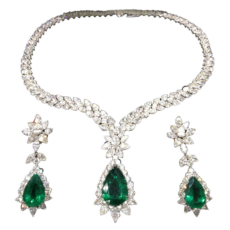 Pear Shape Emerald And Diamond Necklace And Earring Set At