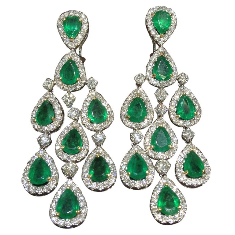 Classic Emerald And Diamond Chandelier Dangle Earrings At