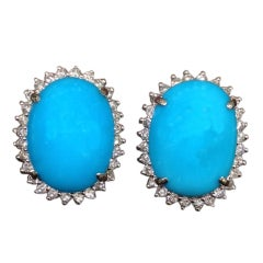 Classic Turquoise and Diamond French Clip Earrings