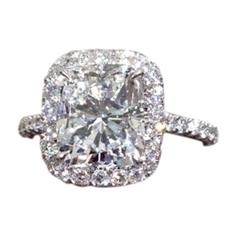 Beautiful GIA 3 01 ct Cushion Cut Diamond Halo Engagement Ring at 1stdibs