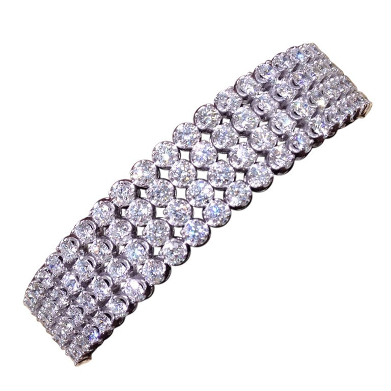 Four Row Round Brilliant Diamond Flex Bangle Bracelet 1