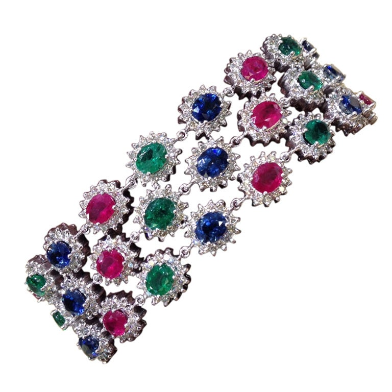 Unique Emerald Ruby and Sapphire Diamond Bracelet