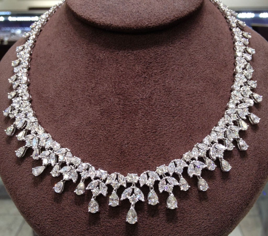 cut jewellery pear necklace diamond jewelry platinum beautiful diamondland