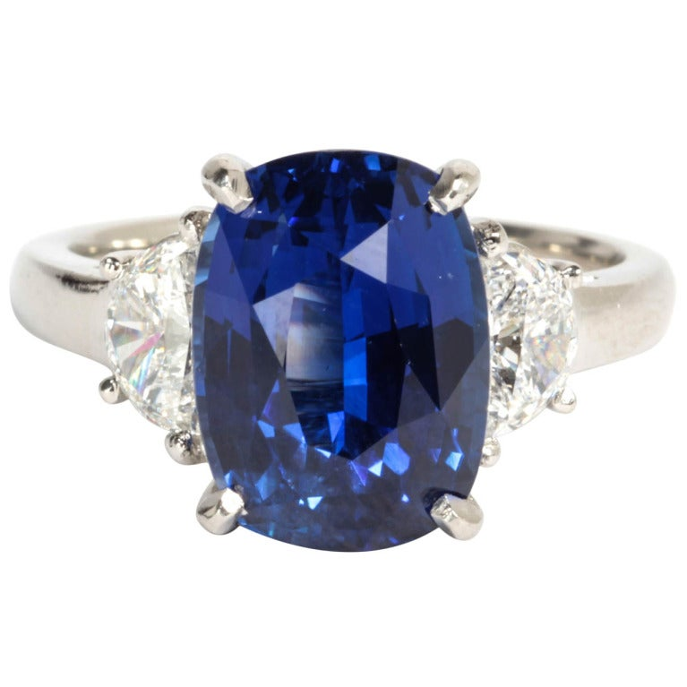 6 carat Natural No Heat Blue Sapphire and Diamond Ring