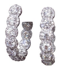 Unique In and Out Diamond Halo Hoop Earrings