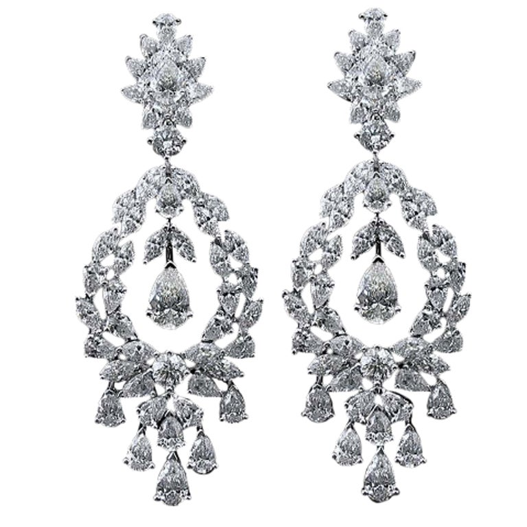 Diamond Drop Earrings Cluster Pear Shape Marquise Shape