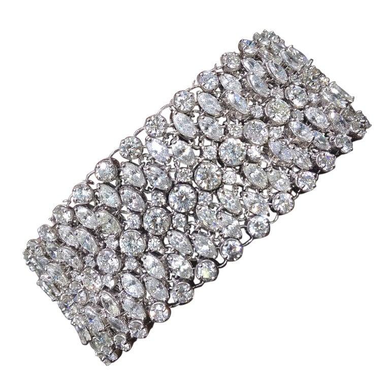 Beautiful Wide Diamond Mesh Setting Bracelet