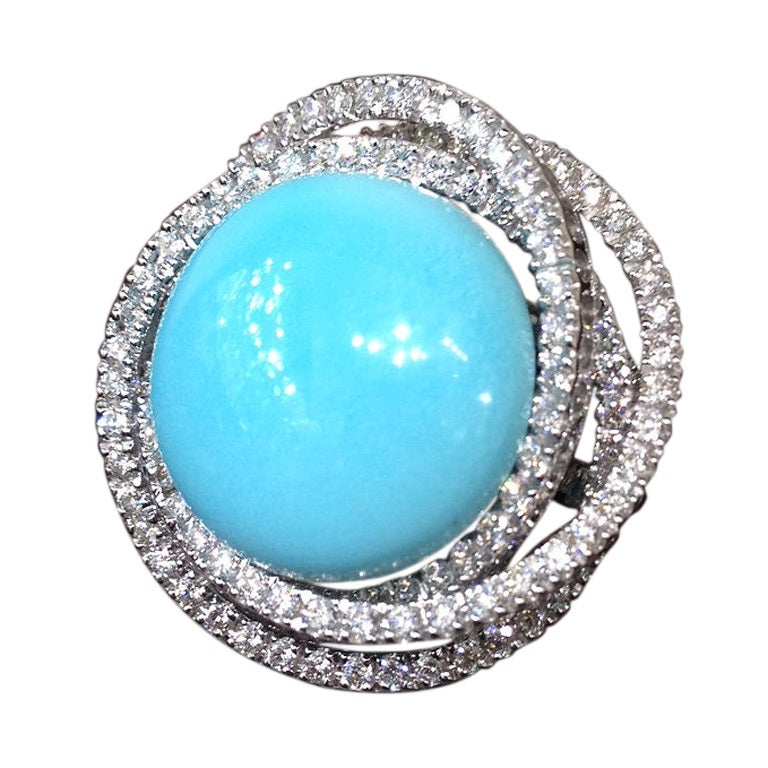 Fabulous Leo Pizzo Turquoise and Diamond Ring