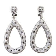 Stunning Pear Shape Rose and Full Cut Diamond Fashion Earrings