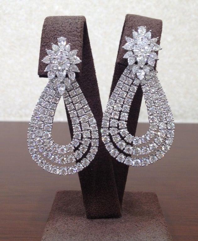 Classic Diamond Cluster Dangle Earrings 2