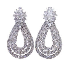 Classic Diamond Cluster Dangle Earrings