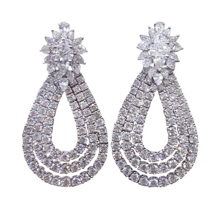Classic Diamond Cluster Dangle Earrings 1