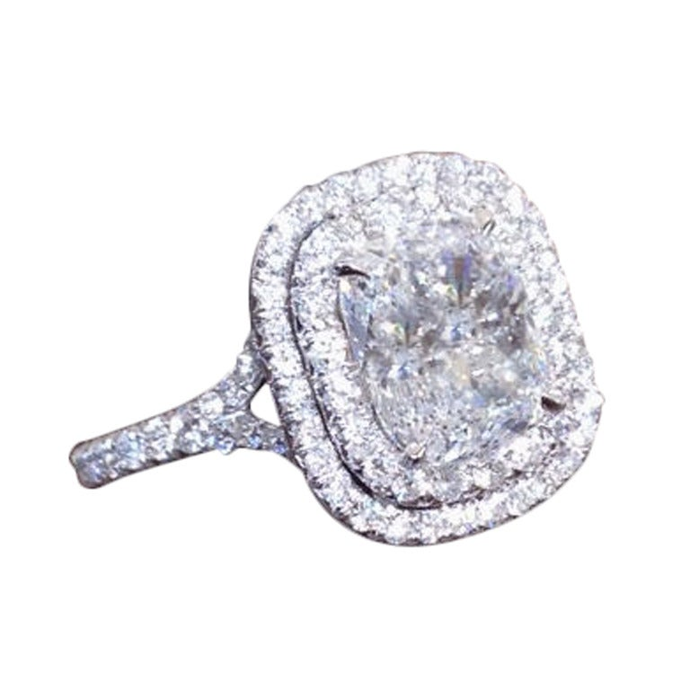Unique Cushion Cut Double Halo Engagement Ring at 1stdibs