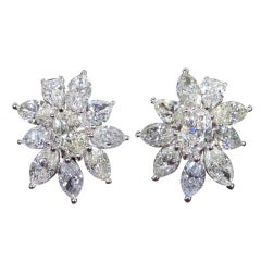 Important Pear and Marquise Diamond Cluster Earrings