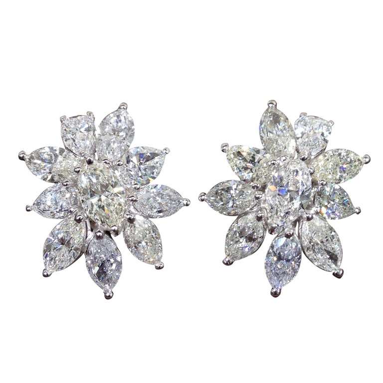Diamond Cluster Earrings For Sale