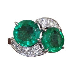 Circa 1950's Emerald and Diamond Ring Set in Platinum