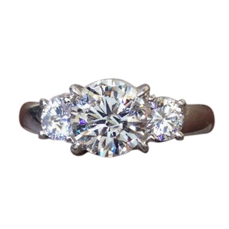 Classic Three Stone Diamond Engagement Ring set in Platinum