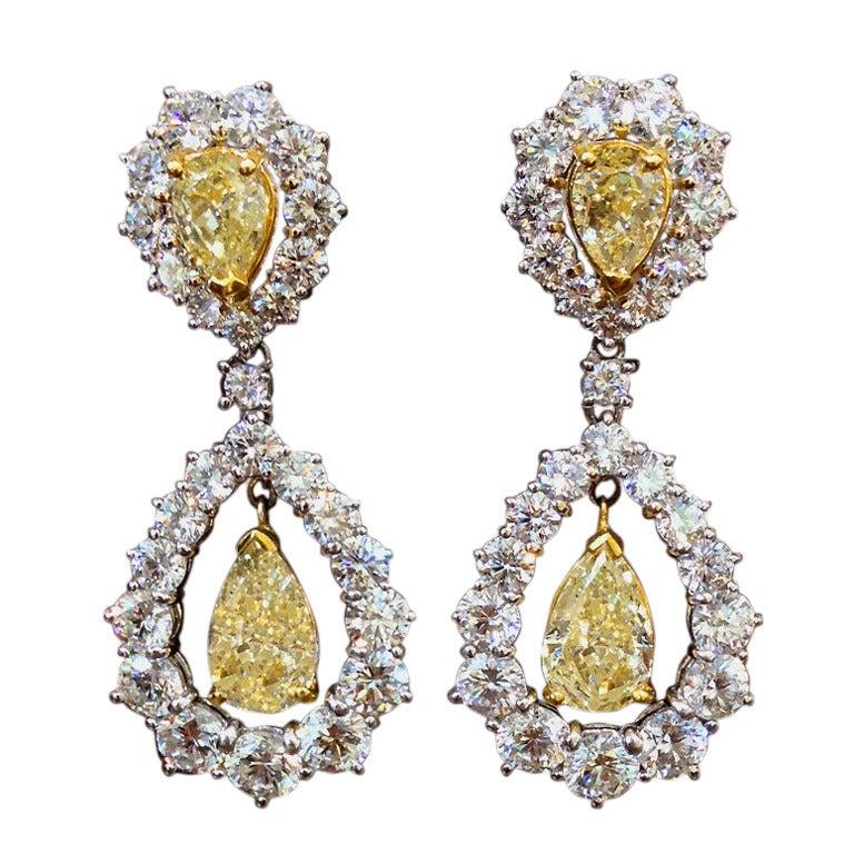Yellow and White Diamond Drop Earrings