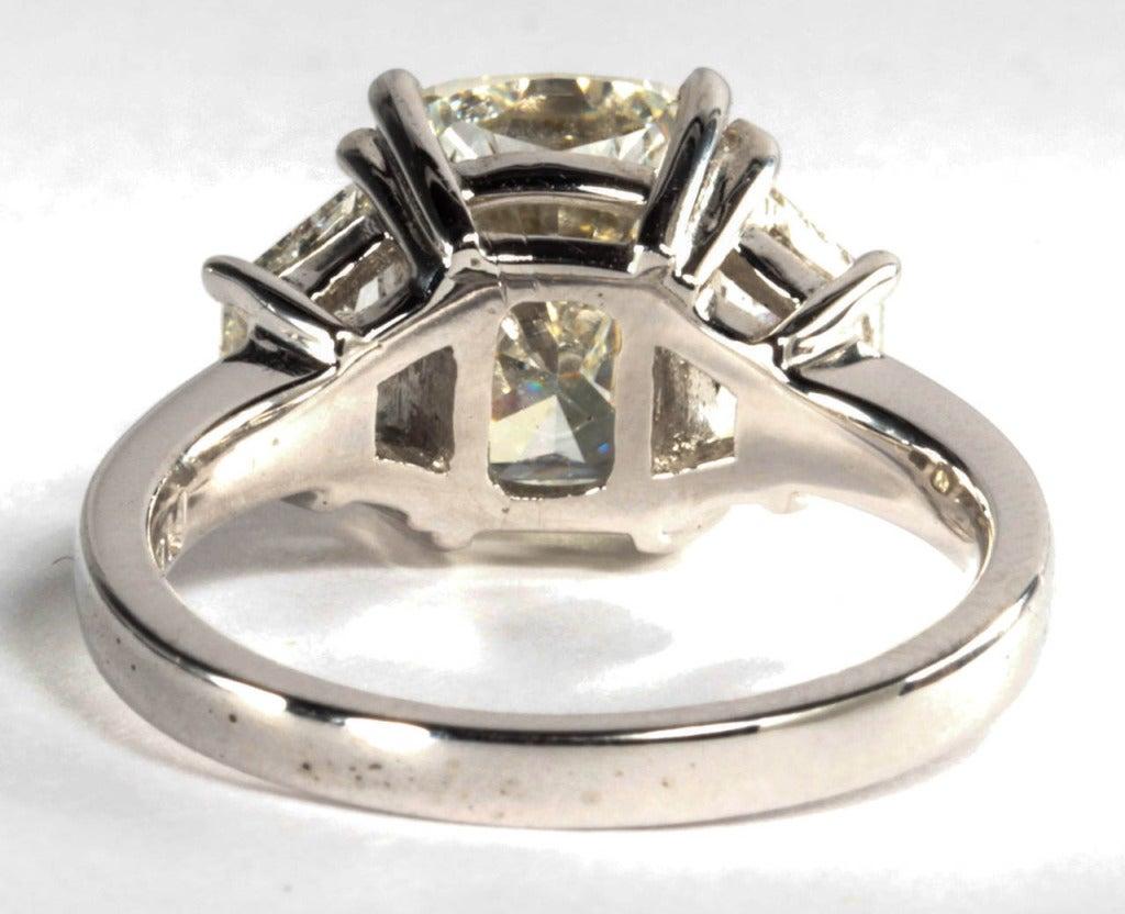 GIA Certified 4 01 Carat Cushion Cut Diamond Engagement Ring set in Platinum