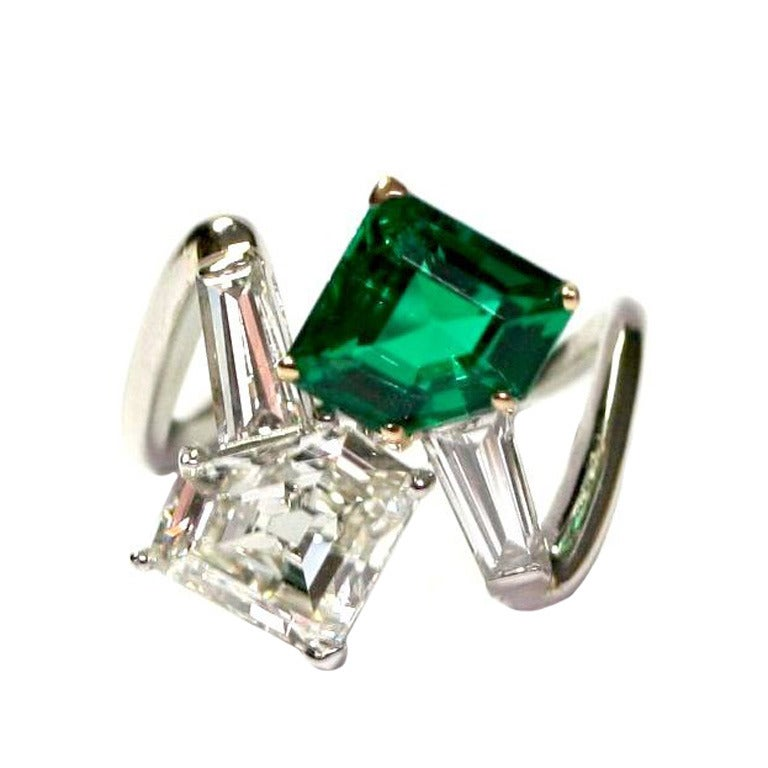 Toi Et Moi Emerald And Diamond Ring At 1stdibs