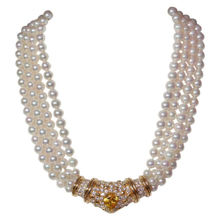 1960s Pearl Yellow Sapphire Diamond Necklace 1