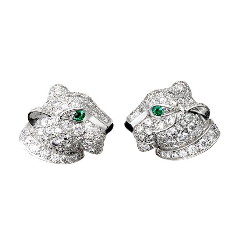 Cartier Panthere Pave Diamond White Gold Earrings At 1stdibs