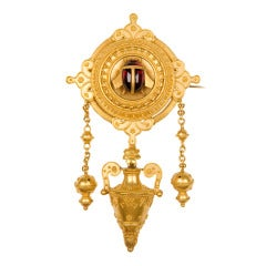 Etruscan Revival 19th Century Gold Pin